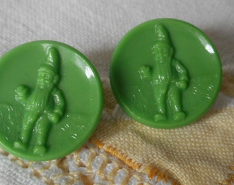 Set of 2 VINTAGE Green Glass Gnome BUTTONS