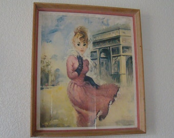 14 X 12 Lithograph, Les Demoisettes de Paris, Vintage Lithograph, Donald Art Co, Female Art. Paris Art, 14X12 Art Print