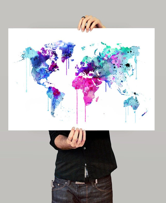 Watercolor world map etsy 22789 trendnet watercolor world map etsy gumiabroncs Images