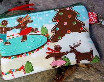Gingerbread Men Coin Purse, Christmas Coin Purse, Gingerbread Zipper Wallet, Ear Bud Pouch, Stocking stuffer, Candy Change Purse