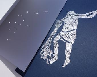 AQUARIUS, the Water Bearer - January February Birthday Shadow Zodiac Constellation Greek Illustration Hand Embossed Hammered Art Card