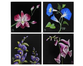Mini Flower Paintings - SET OF 4 - Morning Glory, Hollyhock, Foxglove, Orchid - original mini art - tiny painting - botanical art