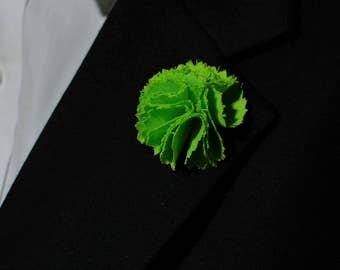 Green Mens Lapel Flower Pin  Lapel Pin  Flower Lapel Pin   White Lapel Pin