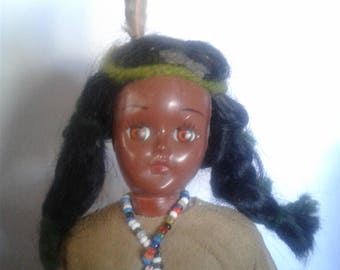 """Native American / Indian Carnival Doll 1970's 7.5"""""""