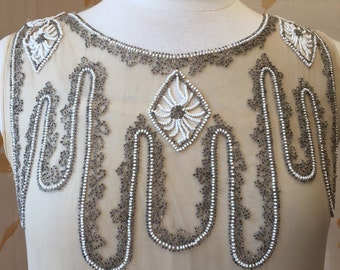 Price reduced: 1920s deco vintage beaded silk chiffon flapper dress