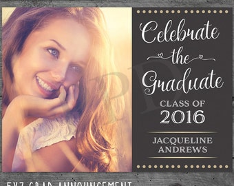 Graduation Photo Cards, Photo Grad Card, Photo Senior Announcement, High School Graduation Announcements, Grad Card, Celebration Card