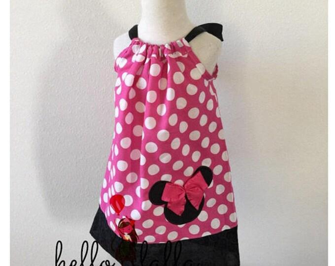 Minnie Mouse Hot Pink Polka Dot Vintage Pillowcase Dress Disney Dress Birthday Dress Photo Prop Dress Polka Dot Dress