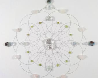Crystal Grid - THE RIPPLE EFFECT - Sacred Geometry Healing Grid, Positivity Grid, Expansion that Reaches Far and Wide, Larimar, Rose Quartz