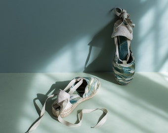 Wedge espadrilles Ribbons Green Branches