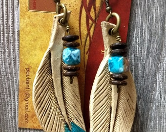 Tooled custom leather feather earrings jewelery