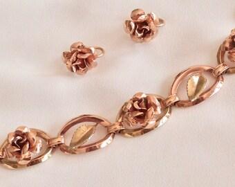 Vintage KREMENTZ Gold/Rose Gold filled bracelet and earring set