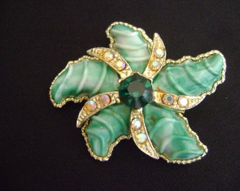 Gold Tone Green with Rhinestones Shell Brooch