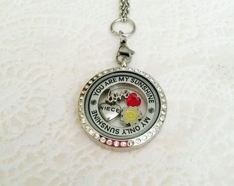 Niece you are my sunshine large memory locket stainless steel with chain