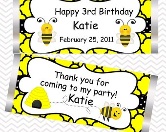 Bumble Bee - Personalized Candy Bar Wrapper, Birthday, Baby Shower