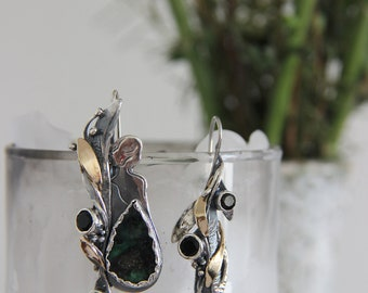 Aphrodite earrings, mismatched earrings, emerald earrings, sterling silver, art jewelry, silver and gold, statement jewelry, unique earrings