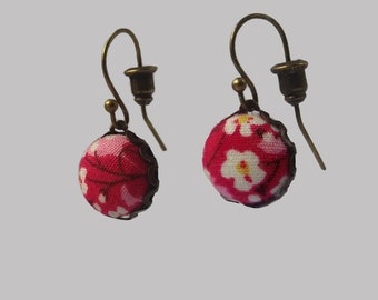 Cherry Blossom -  Floral Fabric Earrings.