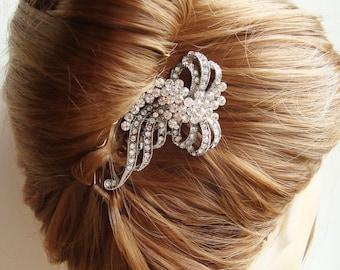 HALF PRICE Sale- Bridal Hair Comb, Vintage Wedding Hair Piece, Crystal Comb, Wedding Hair Comb, Silver Filigree Comb, REINA