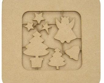 Medium - elements of Christmas wooden frame