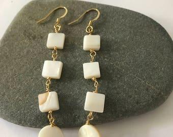 Geometric shell drop earrings