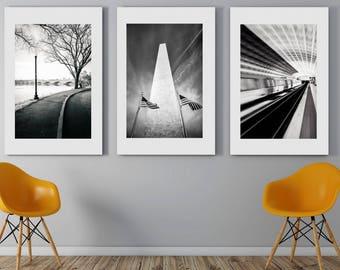 Washington DC, Art, Set of 3, Black and White Photography, Capitol, Potomac, Washington DC Print Set, Washington Monument, DC Wall Decor