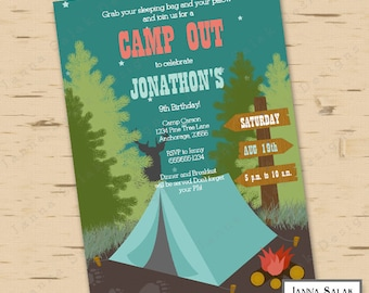 Camping Birthday Party Invitation Camp Out Sleepover Editable Printable 5x7 Invite Diy INSTANT DOWNLOAD You Edit PDF