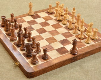 Traveling Folding Staunton Chess Set in Shesham Wood 14 Inches. SKU: D0144