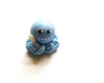Little Octopus Mini Marble Friend Brushing Teeth With or Without Braces Blue Pearl and Light Blue Swirl