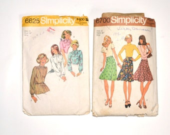 1974 Simplicity Sewing Patterns 6625 and 6700, Misses Blouse, Scarf and Skirts