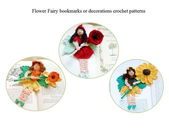 flower fairy bookmarks or decor crochet patterns, fairy crochet decorations instructions, flower fairy decor diy, shadow box art diy,