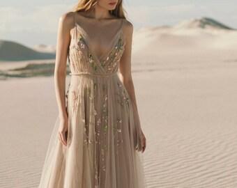 Beige wedding dress | Etsy