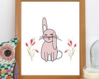 Bunny Nursery Print, 8x10 Nursery Art, Printable Art, Girls Room Decor, Nursery Decor