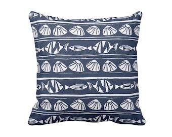 Navy Throw Pillow Cover Blue Nautical Pillow Nautical Decor Coastal Pillows Coastal Decor Seashell Pillows Navy Blue Pillows Navy Pillows