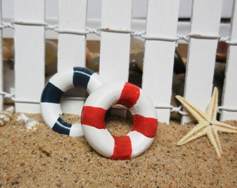 Beach Fairy Miniatures, Miniature Buoy, Summer Miniatures for Fairy Gardens, Terrariums, Nautical Beach Wedding Decor and Cake Toppers