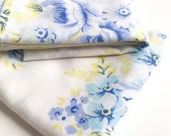 Retro Pillowcases, Blue flowers pillowcases, Vintage Pillowcases, Retro purple Flower Pillowcases