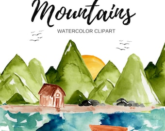 Mountain clipart - watercolor clipart - outdoor clipart - nature clipart - camping clipart - commercial use.