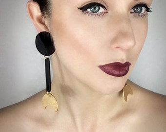 Drop Geometric Acrylic Clip-on Earrings, Round and Crescent Dangle Design by ENNA