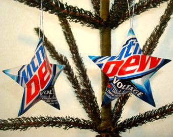 Mountain Dew Voltage Soda Can Aluminum Stars - 2 Unique Recycled Christmas Ornaments or Gift Toppers