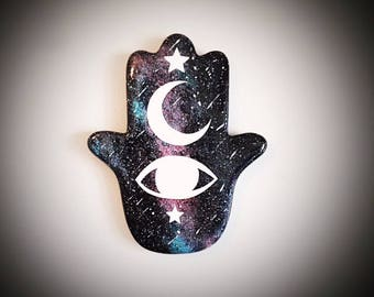 Mystical Hand of Hamsa Ceramic Wall Art
