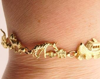 Yellow Gold 10K Noah's Ark Design 7 Inch Bracelet