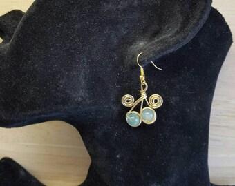 Blue Apatite earrings. Crystal Reiki for throat chakra. Reiki jewelry uk. Gemini jewelry. Gold tone brass Wire wrapped earrings