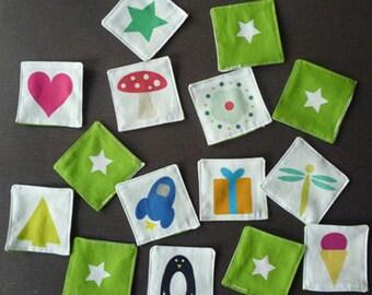 jeu mémory motifs variés - 20 pièces en tissu