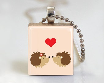 Valentine Kisses - Scrabble Pendant Necklace with Free Ball Chain Necklace or Key Ring