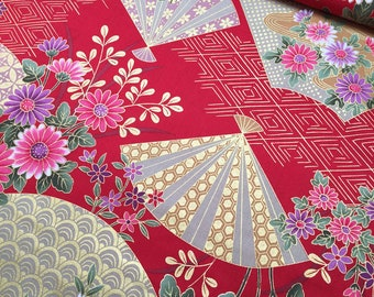 Golden Fans in red Japanese cotton fabric 1600-91B