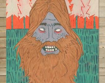 Le Squatch / barbe série / 9 x 12 à imprimer | art de monstre yeti impression de cryptid hipster bigfoot