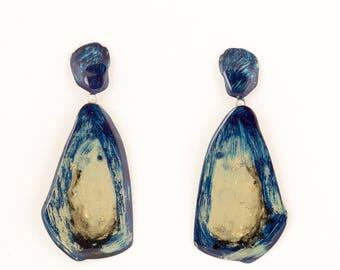 Big blueand gold drop brass earrings