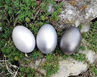 Silver Easter eggs, Easter basket stuffers for Easter decorations, Waldorf toys natural wooden eggs, Easter egg hunt, shimmering silver