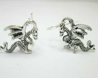 Silver dragon earrings with 925 sterling silver or silver plated ear wires, dragon jewelry, welsh dragon, dragon charm earrings, 3D dragon,
