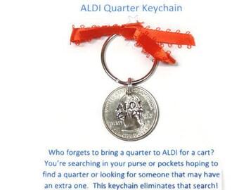 ALDI Quarter Hand Stamped Quarter Keychain; ALDI Keychain; ALDI Cart Keychain; Money Keychain; Aldi Cart Quarter; Hand Stamped Aldi Quarter