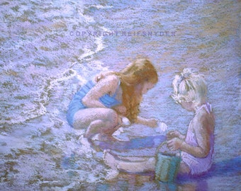 Beach print of two girls at the seashore 8x10, children in surf, blue, lavender, collecting shells, bucket, shore, ocean, kids playing