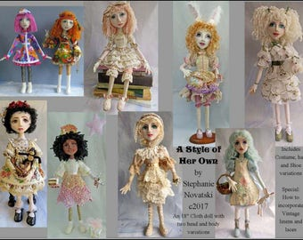 "SI418E - A Style of Her Own - 18"" Cloth Doll Sewing Tutorial/Pattern - PDF"